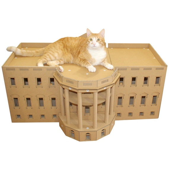 the white house cardboard cat house etsy. Black Bedroom Furniture Sets. Home Design Ideas