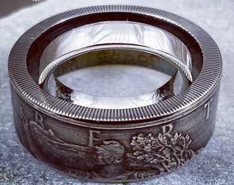 1987 to 2021 Silver dollar coin rings his & hers sweetheart set - 2 coinrings from the same 99.99% Silver Eagle coin