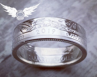 1935 to 2021 Silver quarter coin ring - pick your year US 25 cent two bits coinring