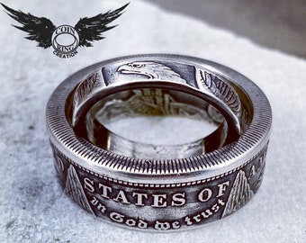 Customer provides the coin Silver Dollar coin ring set his & hers sweetheart set Morgan Peace or Silver Eagle