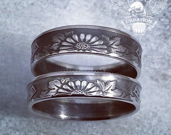 Japanese 50 Yen Coin Ring Japan Anime Coinring with chrysanthemum flowers Pinky ring
