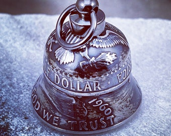 1916-1963 Silver Coin Bell - Motorcycle Bell - Guardian Bell - Gremlin Bell Charm silver half dollar coinbell Harley-Davidson Indian luck