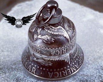 1964-2021 Silver Coin Bell - Motorcycle Bell - Guardian Bell - Gremlin Bell Charm Kennedy silver half dollar coinbell Harley-Davidson Indian