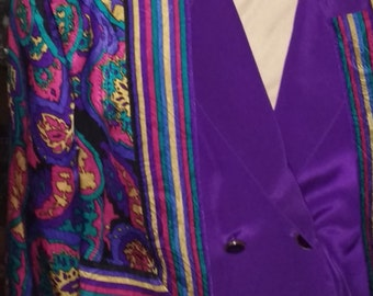 Ladies vintage, paisley, silk combined jacket and blouse, Size Extra Small, vintage
