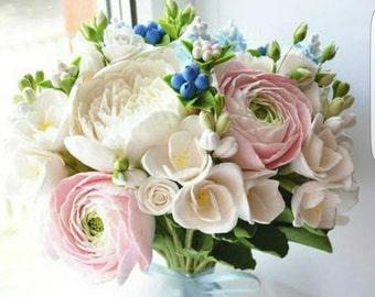 bride bouquet, cold porcelain, roses bouquet, buttercup bouquet, bouquet for memory, bridesmaids bouquet, fresia bouquet, custom bouquet