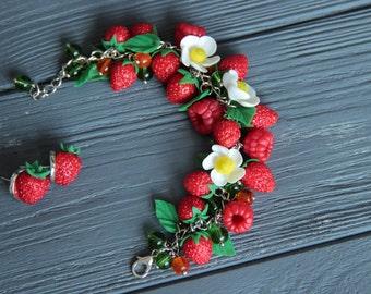raspberries bracelet, raspberries earrings, blueberry earrings , bride rustic, bridesmaids raspberries, berries jewelry, rustic jewelry set