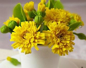dandelion arrangement, flower arrangement, dandelion gift, artificial flowers, clay flower, gift for sister, gift for her, housewarming gift