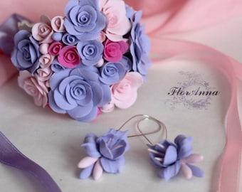 rose bracelet, blue roses, wedding stuff, bride bracelet, fresia earrings , bridesmaids bracelet,  ivory roses bracelet, blue wedding