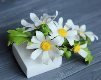 chamomile barrette, chamomile hair accessory, cold porcelain, wedding daisy, daisy gift, daisy hair, gift flowers, bride daisy, birthday
