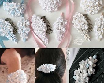 bride jewellery, wedding hair accessories, bride corsage, ivory wedding, bridesmaids corsage, hair accessories, blue wedding, pink wedding