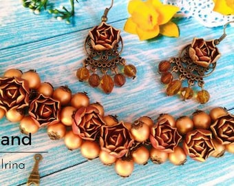Gold rose, jewerly set, brown earring,colored set,gold bracelet, cold porcelain