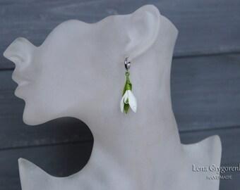 snowdrops earrings, white earrings, flower earrings, gift for her, bridesmaids earrings, cold porcelain, white jewellery, white flower