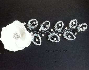 hair accessory, hair beads, bride jewelery, beads, bridal gift, wedding hair, bride comb, crystals hair, hydrangea comb, bridal crystals