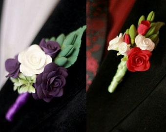 groom boutonniere, roses brooch, pink roses brooch, pink bride, yellow roses, bridesmaids gift, wedding stuff, groomsman brooch, flower gift