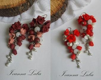 red roses earrings, wild flowers, cute earrings, stylish earrings, handmade, gift earrings