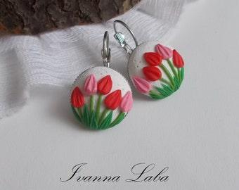 Tulips earrings, wild flowers, cute earrings, stylish earrings, handmade, gift earrings