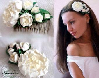 peony comb, white comb, white peony, peony headband, bride jewelry, bridesmaids gift, ivory comb, ivory peony