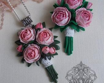 peony pendant, peony earrings, peony brooch, bridesmaids pendant, beach bride, flower pendant, bridal peony pendant, pink pendant, custom