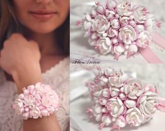 jasmine bracelet, flower bracelet, jasmine jewellery, bride bracelet, jasmine corsage, bridesmaids ivory, pink corsage, jasmine corsage