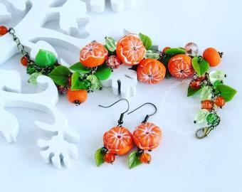 mandarin jewelry, cold porcelain, mandarin bracelet, mandarin earrings, mandarin gift, Christmas mandarin, mandarin gift, Christmas gift