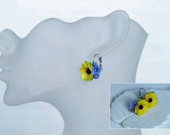 sunflower earrings, flower earrings, dangle earrings, summer earrings, cold porcelain earrings, rustic earrings