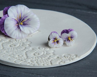 flower hairclip, pansy hairclip, gift for her, rustic jewelry, bride jewelry, bridesmaids gift, bride pansy, pansy hairpin, romantic gift