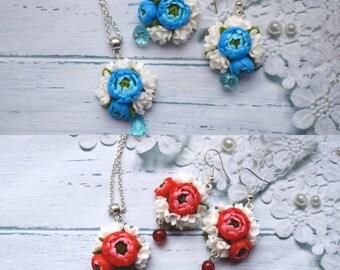 peonies earrings, flower earrings, blue earrings, peonies pendant, gift earrings, red earrings, flower jewelry, bridesmaid earrings