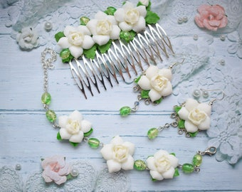 roses earrings, flower earrings, roses comb, roses bracelet, gift earrings, wedding jewelry, bridesmaid earrings, bridesmaid gift, bridal