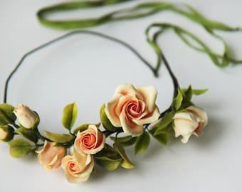 roses headband, roses wreath, roses hair accessory, bridesmaids crown, bride crown, mocha crown, bridal rustic, mocha wreath, custom bride