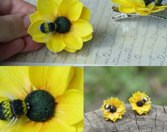 sunflower jewelry, cold porcelain, sunflower earrings, bride sunflower, sunflower gift, bridesmaids gift, bee earrings, girls gift, clips