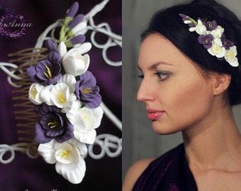 purple comb, flower comb, wedding stuff, bride comb, fresia hair, bridesmaids comb, hair accessories, purple headband, white comb, white