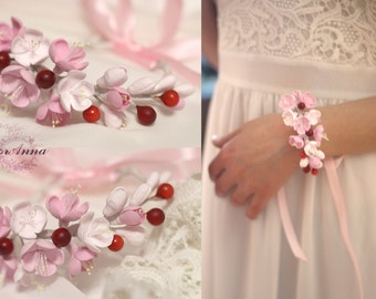 cherry bracelet, flower bracelet, white jewellery, bride bracelet, chery corsage, bridesmaids bracelet, gift for her, berries corsage, red