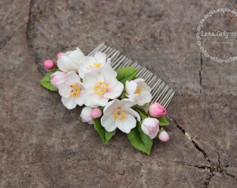 apple blossoms jewellery, flower comb, cold porcelain, bride hairclip, apple blossoms hair, rustic headband, apple blossoms , blossoms bride