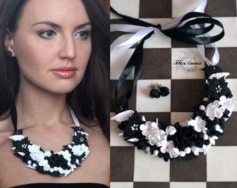 jewellery set, flower set, wedding stuff, flower necklace, black earrings, black necklace, lilac jewellery, white necklace, white earrings