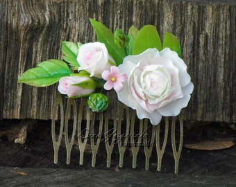roses comb, flower comb, white comb, white bride, flower headband, bridesmaids comb, wedding stuff, cold porcelain, rustic com
