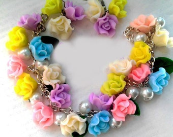 colored roses set,roses earring, roses bracelet, cold porcelain,flovers  jewerly set,wedding bracelet, bridesmaid bracelet