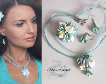 calla jewellery, calla earrings, calla hair clip, calla pendant, calla jewellery set, blue bridal jewellery, bridal calla, calla hair
