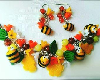 Honey bee bracelet,bee earrings, funny accessory, cold porcelain,sweet bracelet, bee accessory, flower