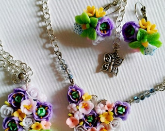 Purple flowers, jewerly set, green flowers earring,colored pendant,flowers necklace, cold porcelain