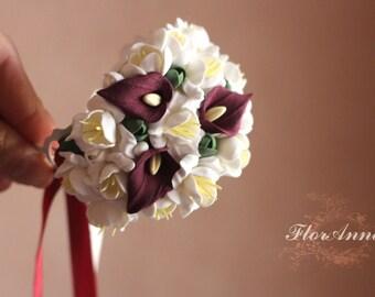 calla bracelet, flower bracelet, calla jewellery, bride bracelet, calla corsage, bridesmaids pistache, gift for her, vinous corsage,  white