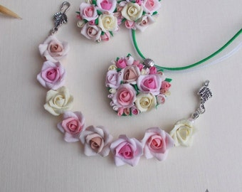 Rose flower set, bride bracelet, bridal pendant, bride set, girl gift, flowers set