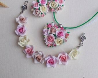 Rose flower set, bride bracelet, bridal pendant, bride set, girl gift, flowers set
