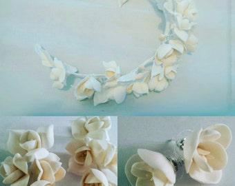 ivory headband, flower headband, ivory flower, gift for her, ivory earrings, ivory bridal jewellery, ivory wreath, ivory bridal, ivory