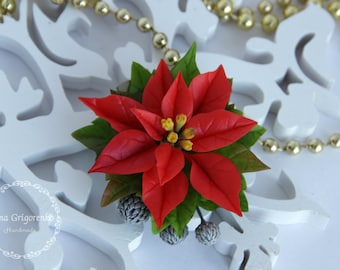 poinsettia brooch, flower brooch, cold porcelain, wedding stuff, groom boutonniere, poinsettia hair, bridesmaids hair, red headband