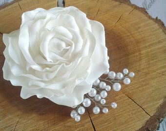 rose scrunchy, white rose hair, hear accessory, bridal rose comb, bride white headband, bridesmaids roses, white wedding, gift for girl