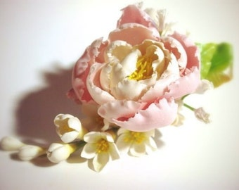 peony hairclip, peony comb, gift for her, rustic jewelry, decorative comb,  bride peony, peony headband, bridesmaids gift, bride hairclip