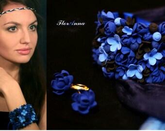 flower bracelet, flower earringd, blue flower bracelet, gift for her, dark blue corsage, purple bridal jewellery, black bridal corsage, blue