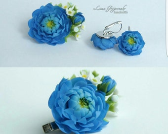 peony comb, cold porcelain, gift for her, blue peony, bride peony, bridesmaids gift, bride earrings, peony jewelry, peony earrings,  blue
