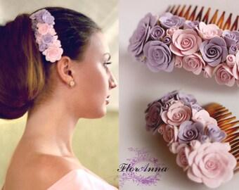 pink comb, flower comb, wedding stuff, bride comb, roses corsage, bridesmaids comb, hair accessories, grey headband, rose comb, pink grey