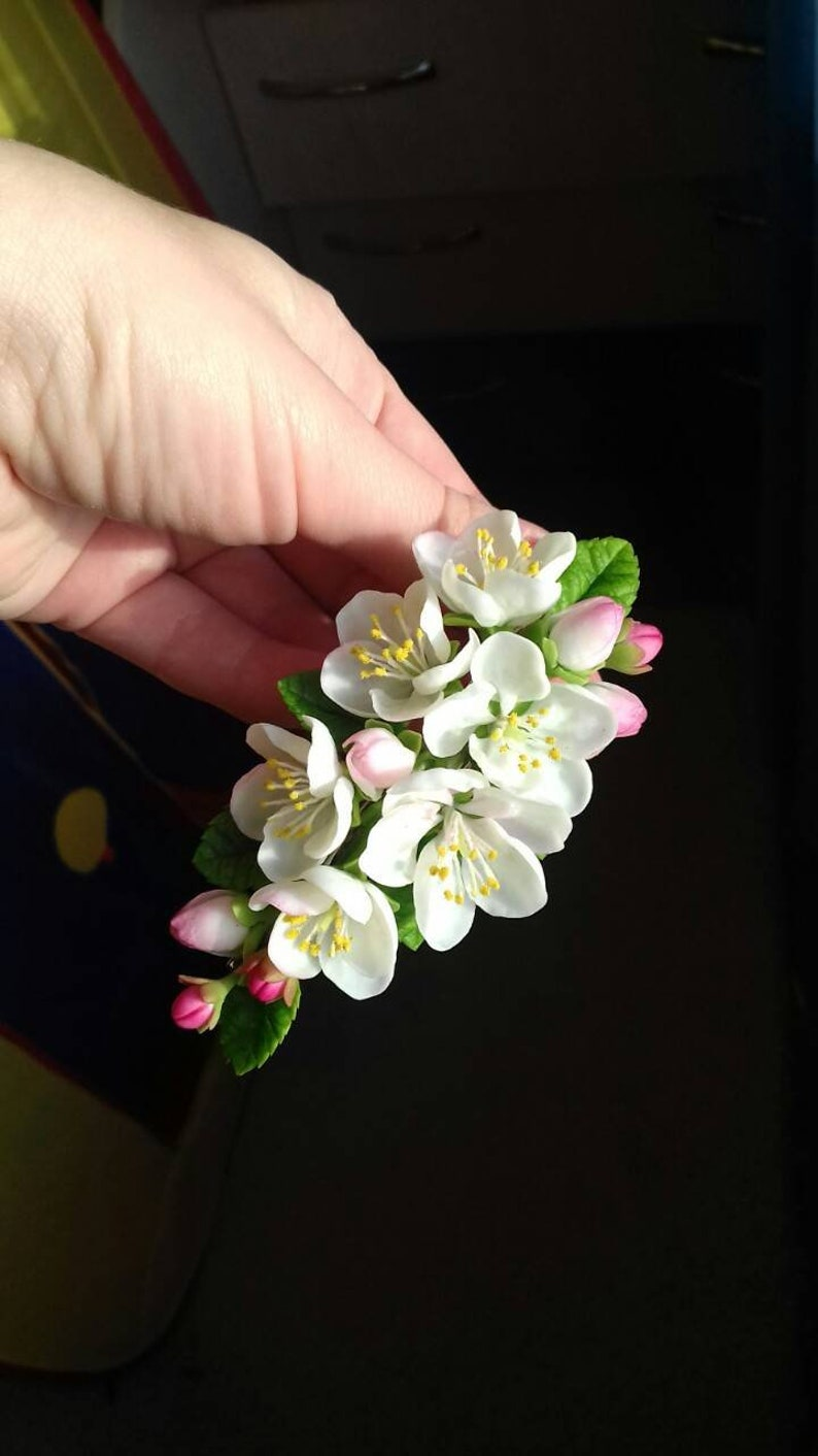 apple blossoms hair apple blossoms jewellery cold porcelain rustic headband flower comb bride hair clip apple blossoms